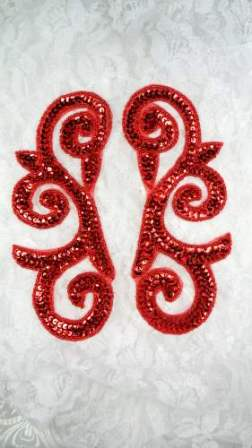 "ONE SIDED Sequin Appliques Mirror Pair Red Scroll Designer 6.5"" ( JB239)"