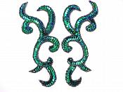 "Peacock Scroll Designer Sequin Appliques Mirror Pair 6.75""  JB240X"