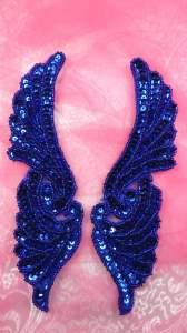 """JB241 Mirror Pair Blue Wings Designer Sequin Appliques 7"""""""