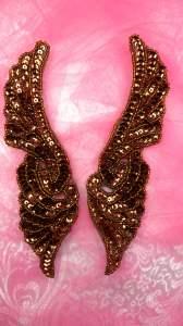 "JB241 Bronze Wings Designer Sequin Appliques Mirror Pair 7"""