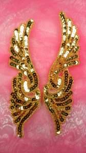 """JB241 Mirror Pair Gold Wings Designer Sequin Appliques 7"""""""