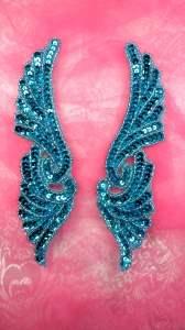 """JB241 Turquoise Wings Designer Sequin Appliques Mirror Pair 7"""""""