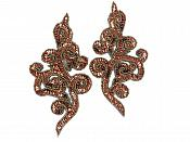 "Beaded Sequin Appliques Bronze Scroll Designer Mirror Pair Iron On Patch 7"" JB242X"