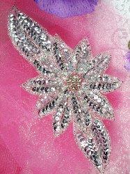 "JB25 Silver Floral Rhinestone Beaded Sequin Applique 6.5"""