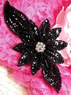 "JB25 Black Floral Rhinestone Beaded Sequin Applique 6.5"""
