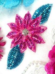 "JB25 Fuchsia Turquoise Floral Rhinestone Beaded Sequin Flower Applique 6.5"""