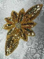 "JB25 Gold Floral Rhinestone Beaded Sequin Applique 6.5"""