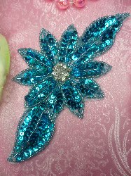 "JB25 Turquoise Floral Rhinestone Beaded Sequin Applique 6.5"""