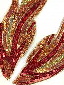 """Sequin Appliques Red Flames of Fire Mirror Pair Beaded Patch 10"""" JB255X"""