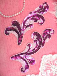 JB255 Sequin Appliques Mirror Pair Fuchsia AB Aurora Borealis Scroll Patch 6.25""