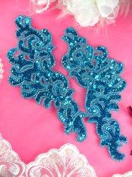 """JB257 Sequin Appliques Turquoise MIRROR PAIR Scroll Designer 7.5"""""""