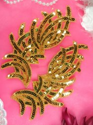 "JB258 Sequin Appliques Gold MIRROR PAIR Designer Dance Patch 7"""