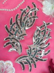 "JB258 Sequin Appliques Silver MIRROR PAIR Designer Dance Patch 7"""