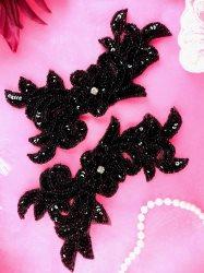 """JB259 Sequin Appliques Black MIRROR PAIR Floral Patch 7"""""""