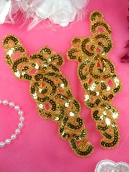 """JB260 Sequin Appliques Gold Beaded Mirror Pair Dance Patch 7"""""""