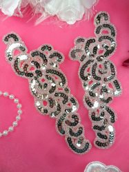 """JB260 Sequin Appliques Beaded Silver Mirror Pair Dance Patch 7"""""""