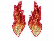 "Flames Sequin Appliques HOLOGRAPHIC Red Orange Gold Beaded Mirror Pair 4"" JB262X"
