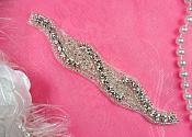 """Braided Applique Silver Beaded Crystal Rhinestone 5"""" (JB263-slcr)"""