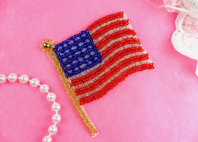 "American Flag Applique Patriotic Beaded USA 3"" (JB264-pat)"