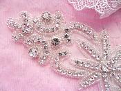 "Rhinestone Applique Crystal Glass Silver Beads 7.5"" (JB265)"
