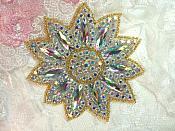 "Crystal AB Rhinestone Applique Gold Beads Floral Bridal Star Sash Motif 3.75"" (JB266)"