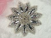 "Rhinestone Applique Silver Beads Floral Bridal Star Sash Motif 3.75"" (JB266)"