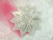 """Crystal AB Rhinestone Applique Silver Beads Floral Bridal Star Sash Motif 3.75"""" (JB266)"""