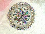 "Crystal AB Rhinestone Applique Silver Beads Round Floral Center Bridal Motif 3.25"" (JB267)"