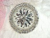 "Rhinestone Applique Silver Beads Round Floral Center Bridal Motif 3.25"" (JB267)"