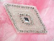 "Diamond Rhinestone Applique Silver Beaded  4.25"" (JB268)"