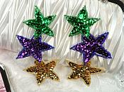"Sequin Star Mardi Gras Applique Mirror Pair 3 Star beaded Applique 5""  (JB269X)"