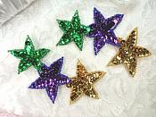 "Sequin Star Mardi Gras Applique Mirror Pair 3 Star beaded Applique 5""  (JB269X)"