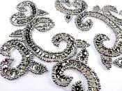 "Appliques Sequin Smoke Mirror Pair Beaded Clothing Patch 6"" JB275"