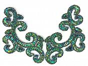 """Peacock Mirror Pair Sequin Beaded Appliques Dance Costume Clothing Patch 6"""" JB275X"""