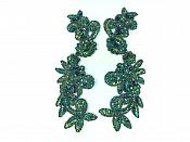 """Peacock Mirror Pair Sequin Beaded Appliques Dance Costume Clothing Patch 10"""" JB276X"""