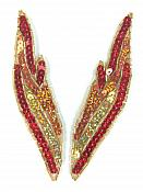 """Appliques Flames Red Orange Gold Sequin Beaded MIRROR PAIR 5"""" JB277X"""