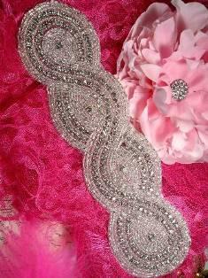 "JB29 Large Braided Silver Beaded Crystal Rhinestone Applique 9.5"""