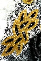 "Hot Fix Black Gold Designer Glass Beaded Applique 6"" (JB31)"
