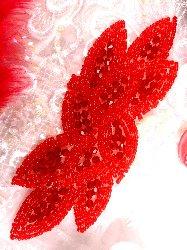 "JB31 Bright Red Designer Glass Beaded Applique 6"""