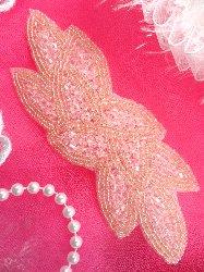 """JB31 Pale Pink Designer Beaded Cluster Applique 6"""""""