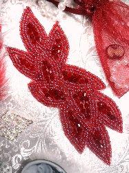"JB31 Deep Red Designer Glass Beaded Applique 6"""