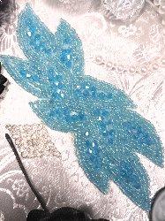 "JB31 Turquoise AB Designer Glass Beaded Applique 6"""