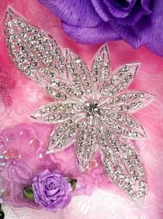 """JB33B Silver Beaded Floral Crystal Rhinestone Applique 6.5"""""""