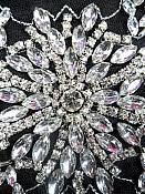 """JB34 Crystal Clear Silver Beaded Rhinestone Applique w/ Black Backing 11"""""""