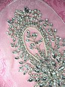 JB34 Crystal Clear Silver Beaded Rhinestone Applique Pearl White Backing 11""