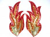 "Flame Appliques Holographic Sequins w/ Beaded Edges Red Orange Gold Mirror Pair 10"" JB38X"
