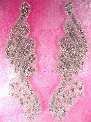 "JB39  Savannah Mirror Pair Silver Beaded Crystal Rhinestone Appliques 6"""