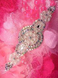"JB41 Aurora Borealis Crystal AB Rhinestone Lillian Silver Beaded Pearl Applique 6.25"""