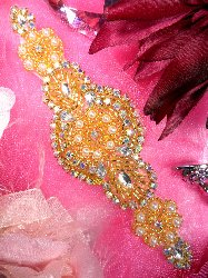 "JB41 Lillian Gold Pearl Beaded Crystal Aurora Borealis  AB Rhinestone Applique 6.25"""