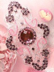"JB42 Cassandra Princess Pink Glass Beaded Rhinestone Applique 5.75"""